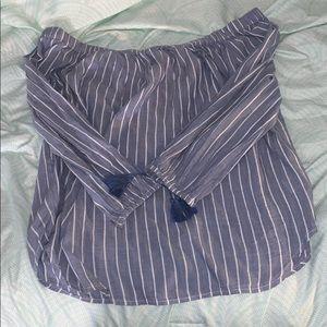 Off the shoulder flowy long sleeve shirt